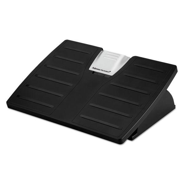 Fellowes Adjustable Locking Footrest w/Microban, 17 1/2 x 13 1/8 x 5 5/8, Black/Silver