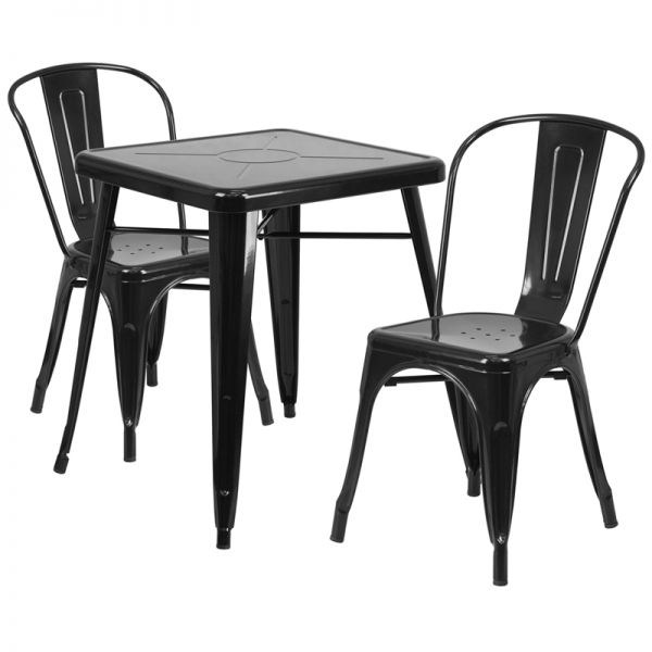 Flash Furniture 23.75'' Square Black Metal Indoor-Outdoor Table Set with 2 Stack Chairs