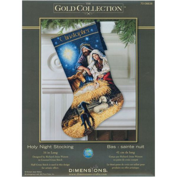 Dimensions Gold Collection Holy Night Stocking Counted Cross Stitch Kit