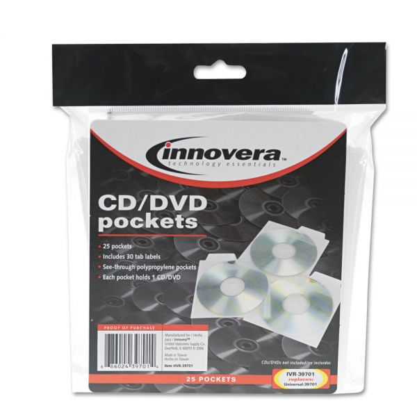 Innovera CD/DVD Pocket with Built-In Label Tab, Clear, 25 per Pack