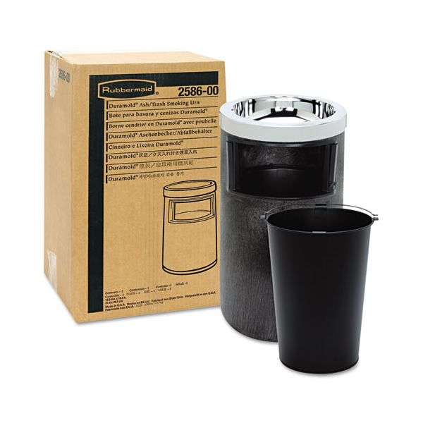 Rubbermaid Smoking Urn with Ashtray and Metal Liner, 19.5H x 12.5 Diameter, Black, 1 EA