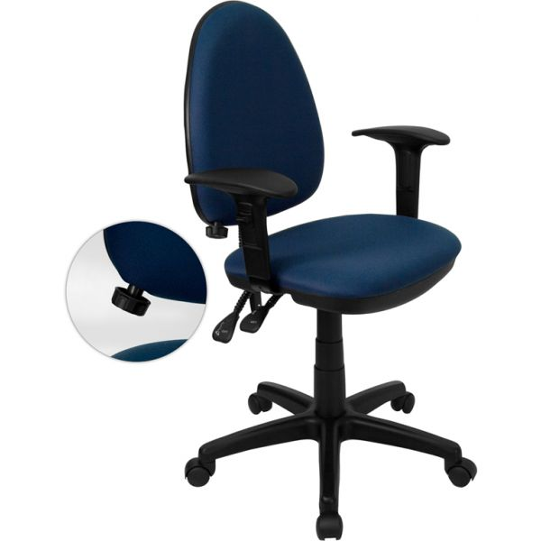 Flash Furniture Mid-Back Task Chair with Adjustable Lumbar Support and Height Adjustable Arms