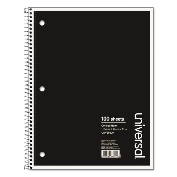 Universal 1 Sub. Wirebound Notebook, 11 x 8 1/2, College Rule, 100 Sheets, Black Cover