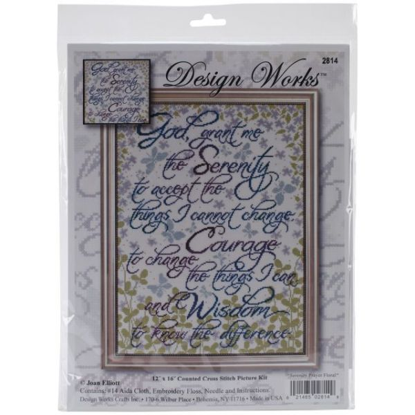 Serenity Prayer Floral Counted Cross Stitch Kit