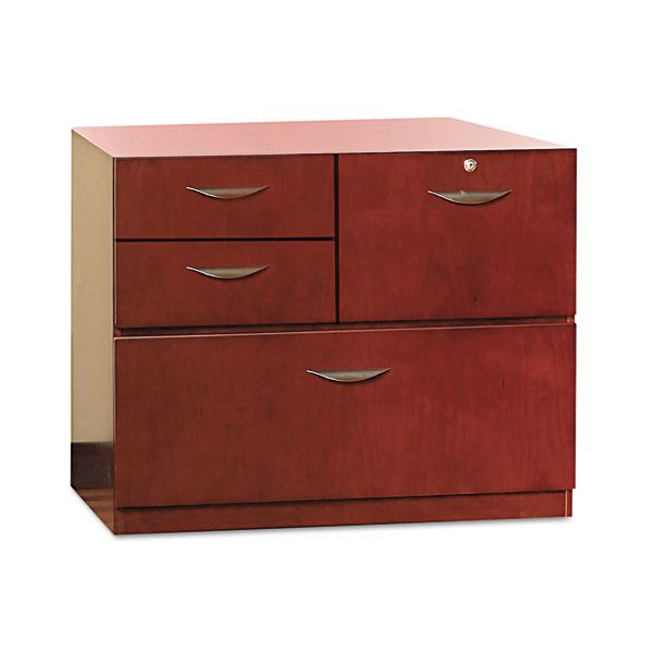 Mayline Mira Series Veneer Multipurpose Storage Unit, 30w x 19d x 27-3/4h, Medium Cherry