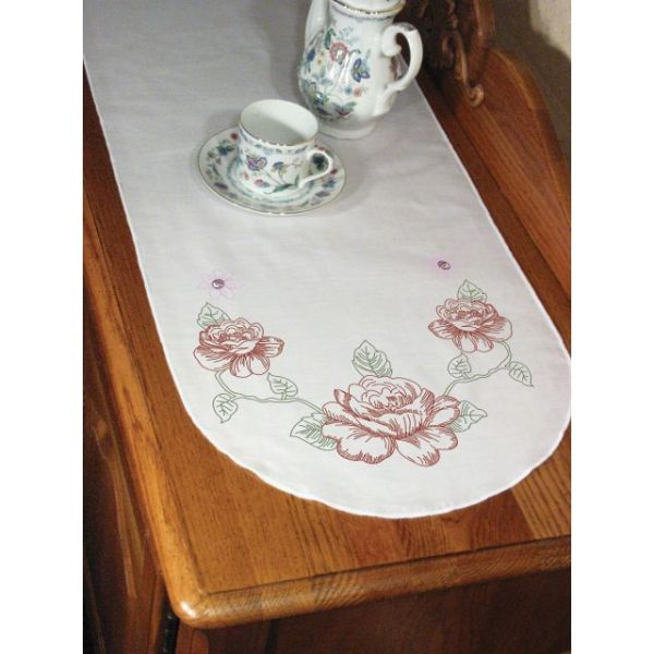 "Stamped Perle Edge Dresser Scarf 15""X42"""