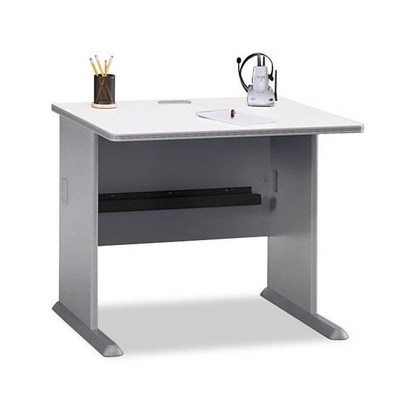 Series A Workstation Desk, White Nebula/Pewter, 36wx26-7/8dx29-7/8h by Bush Furniture
