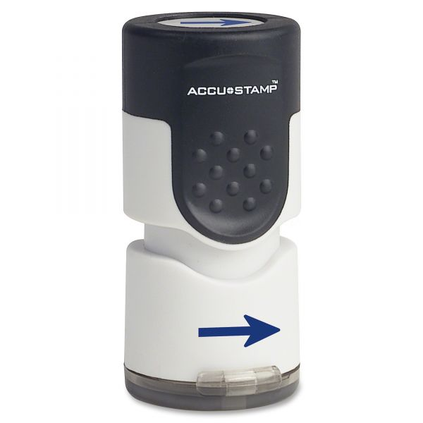 "ACCUSTAMP Accustamp Pre-Inked Round Stamp with Microban, Arrow, 5/8"" dia, Blue"
