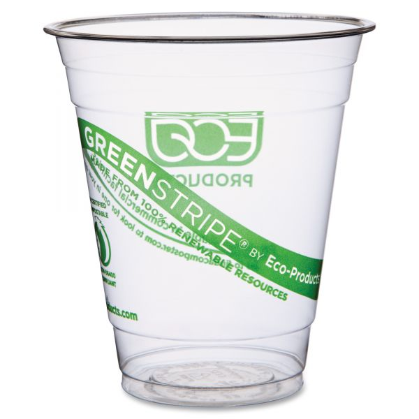 Eco-Products Green Stripe 12 oz Plastic Cups