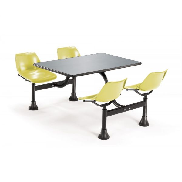 OFM OFM Cluster Table with 4 Attached Swivel Chairs and Stainless Steel Top, Yellow