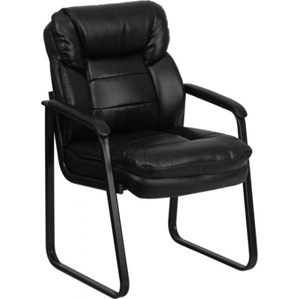 Flash Furniture Black Leather Executive Side Chair with Sled Base