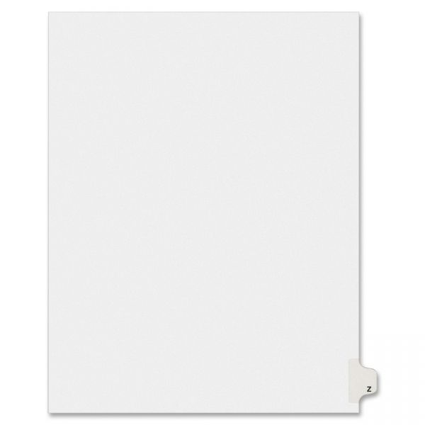 Avery-Style Legal Exhibit Side Tab Dividers, 1-Tab, Title Z, Ltr, White, 25/PK