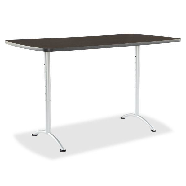 Iceberg ARC Sit-to-Stand Tables, Rectangular Top, 36w x 72d x 30-42h, Gray Walnut/Silver