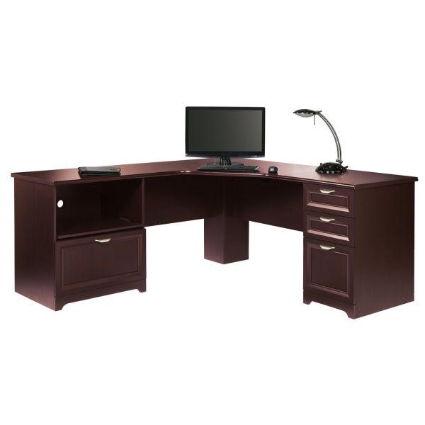 "Realspace Magellan Performance 71""W L-Shaped Desk, Cherry ..."