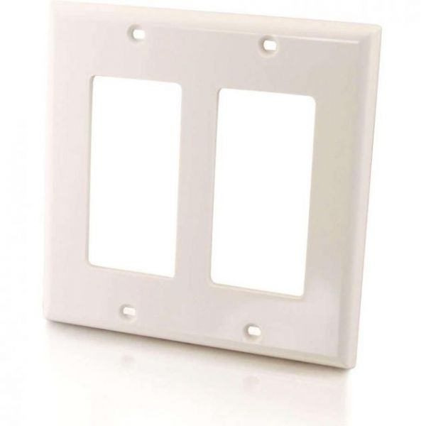 C2G Decora Style Double Gang Wall Plate - White