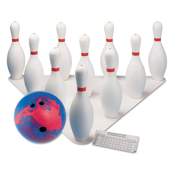 Champion Sports Bowling Set, Plastic/Rubber, White, 1 Ball/10 Pins/Set