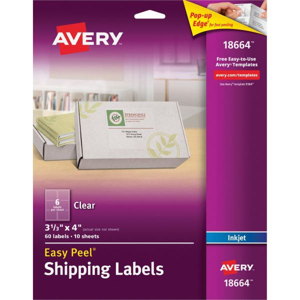 Avery 18664 Easy Peel Clear Shipping Labels