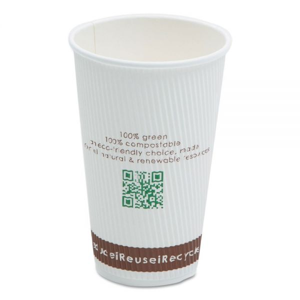 NatureHouse Compostable Insulated Ripple-Grip 16 oz Coffee Cups