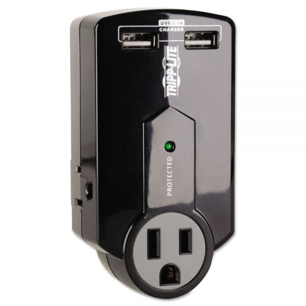 Tripp Lite Travel Surge with 2.1 Amp USB Charging Ports, 3 Outlets/2 USB, 540 Joules, Black