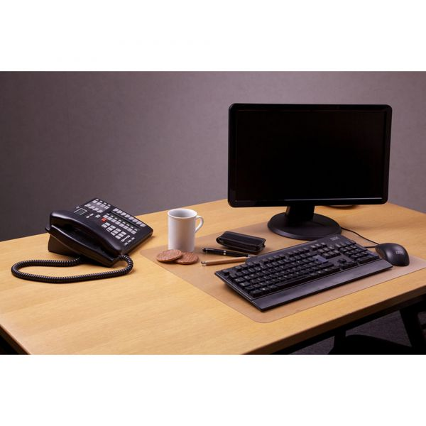 "Floortex Desktex Polycarbonate Anti-Slip Desk Mat, 24"" x 19"", Clear"