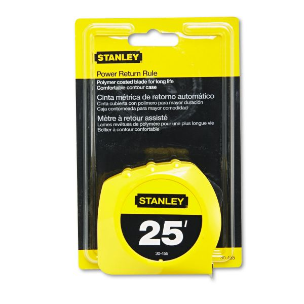 "Stanley Bostitch Power Return Tape Measure, Plastic Case, 1"" x 25ft, Yellow"