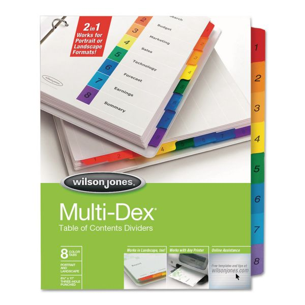 Wilson Jones MultiDex Complete Table Of Contents Numbered Dividers
