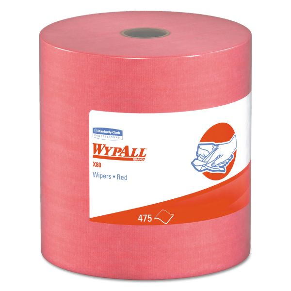 WypAll* X80 Cloths, HYDROKNIT, Jumbo Roll, 12 1/2 x 13 2/5, Red, 475 Wipers/Roll