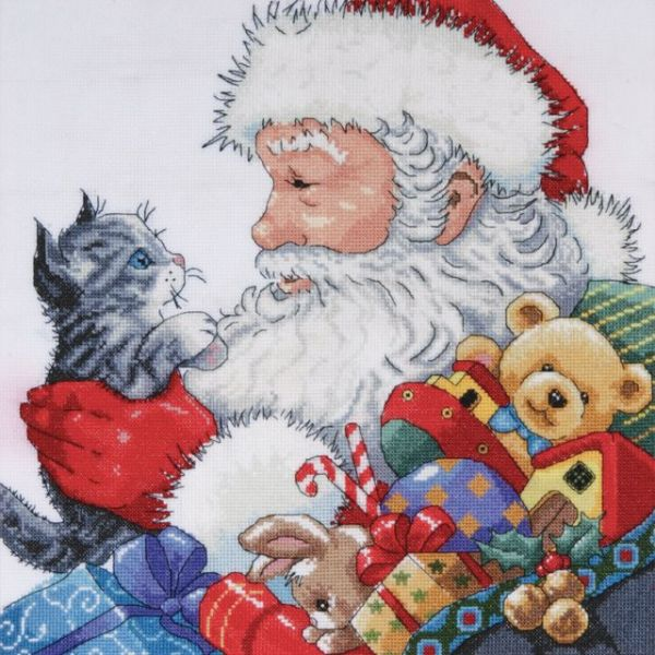Santa & Kitten Counted Cross Stitch Kit