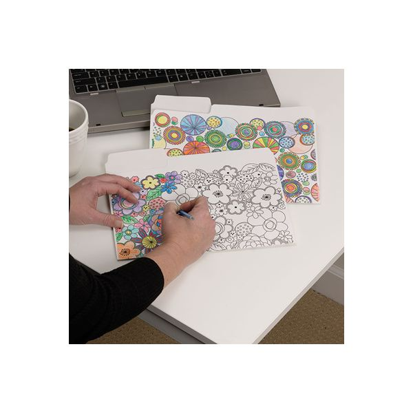 """Smead SuperTab Coloring File Folders, 1/3 Cut, 3/4"""" Expansion, Letter, White, 6/Pack"""