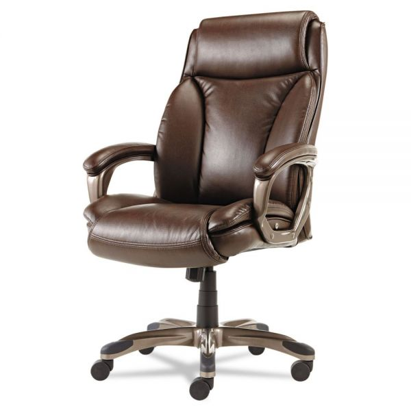 Alera Veon Series Executive High-Back Leather Office Chair with Coil Spring Cushioning