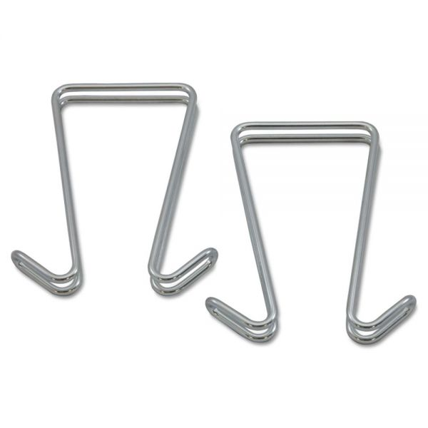 Alera Double Sided Partition Garment Hook, Silver, Steel, 2/PK