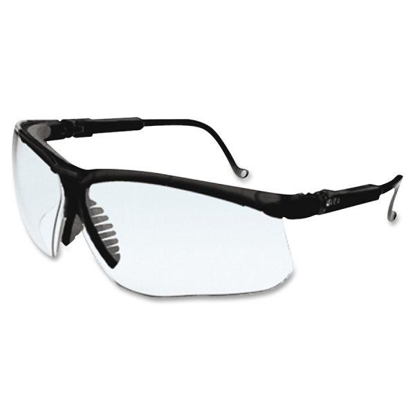 Honeywell Uvex Genesis Wraparound Safety Glasses, Black Plastic Frame, Clear Lens