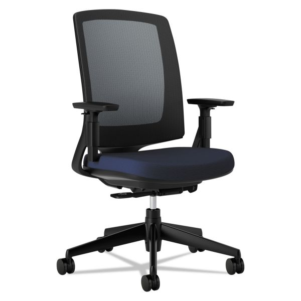 HON Lota Series Mesh Mid-Back Work Chair, Navy Fabric, Black Base