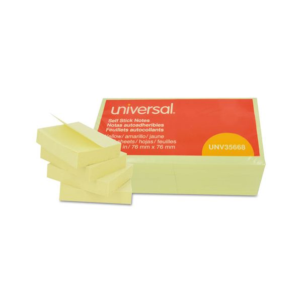 Universal Self-Stick Note Pads, 3 x 3, Yellow, 100-Sheet, 12/Pack