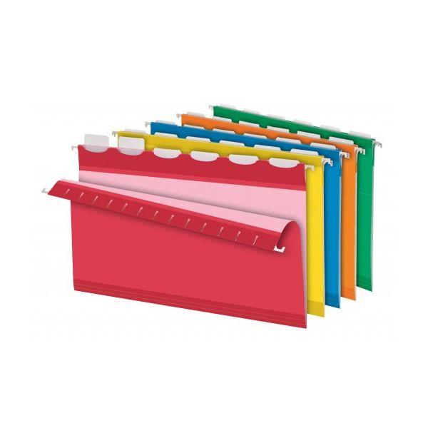 Pendaflex Colored Reinforced Hanging Folders, 1/6 Tab, Legal, Asst, 25/Box
