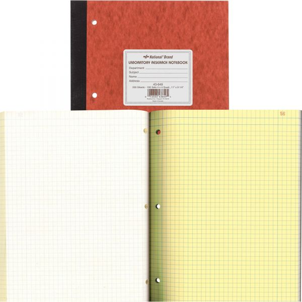 National Duplicate Lab Notebook, Quadrille Rule, 11 x 9 1/4, White/Yellow, 200 Sheets