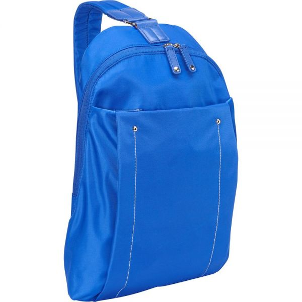 "WIB Miami City Slim Backpack for up-to 14.1"" Notebook , Tablet, eReader - Blue - Twill Polyester"