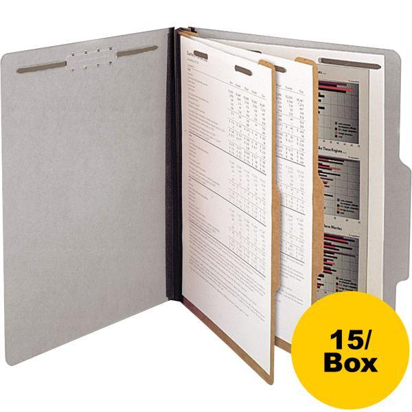 SJ Paper Gray Pressboard Classification Folders