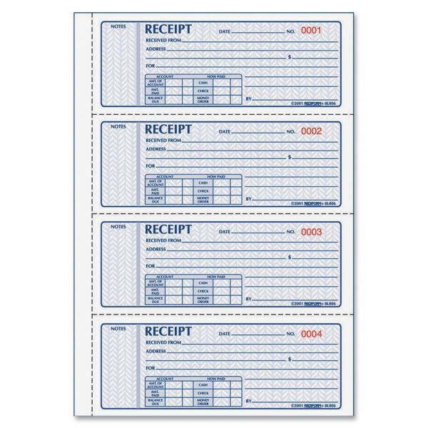 Rediform Prestige Money 3-Part Receipt Book