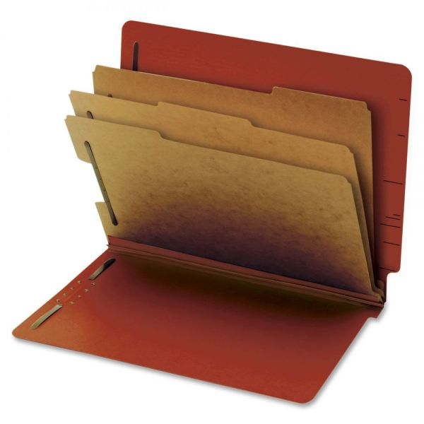 Globe-Weis End Tab Red Pressboard Classification Folders