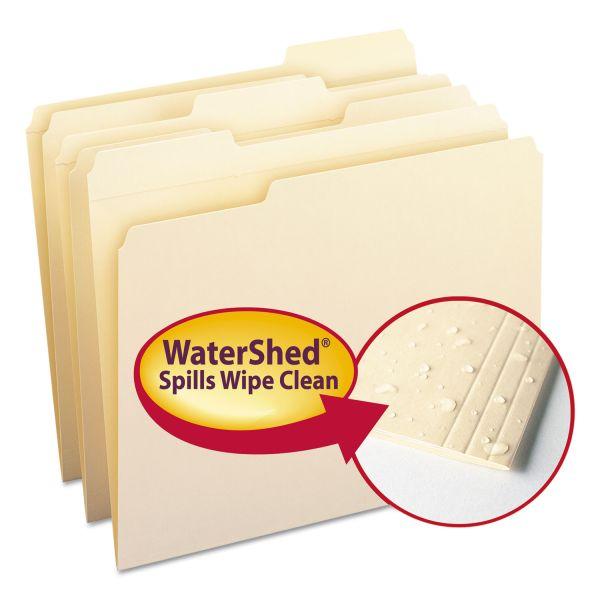 Smead WaterShed File Folders, 1/3 Cut Top Tab, Letter, Manila, 100/Box