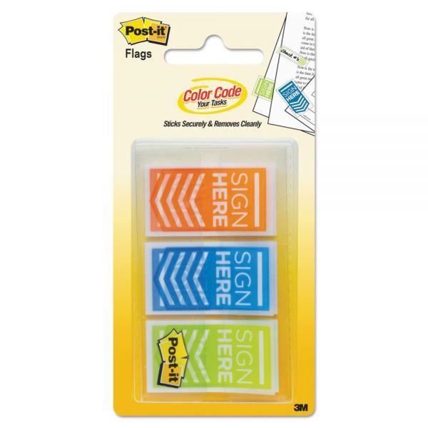 "Post-it Flags Arrow Message 1"" Page Flags, ""Sign Here"", Blue/Lime/Orange, 60/Pack"