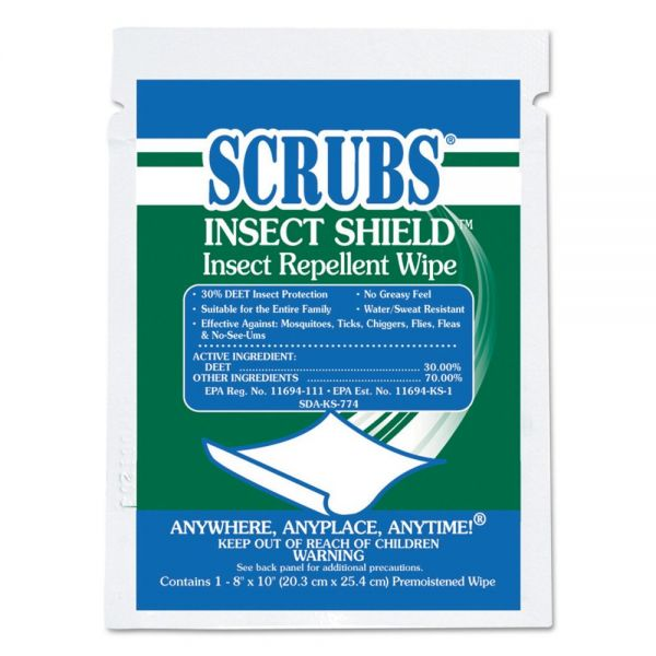 SCRUBS Insect Shield Insect Repellent Wipes, 8 x 10, White, 100/Carton