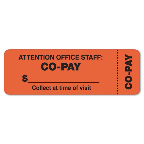 Tabbies Attention Office Staff Medical Labels, 1 x 3, Orange, 500/Roll