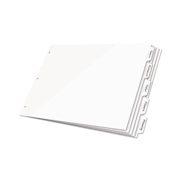 Cardinal Write 'n Erase Tabloid Index Dividers, 8-Tab, White Tab, 11 x 17, 1 Set