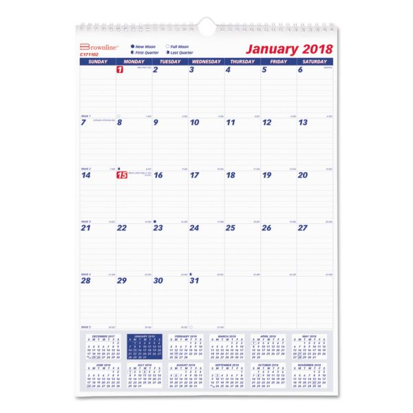 Rediform 1PPM Lined Block Monthly Wall Calendar