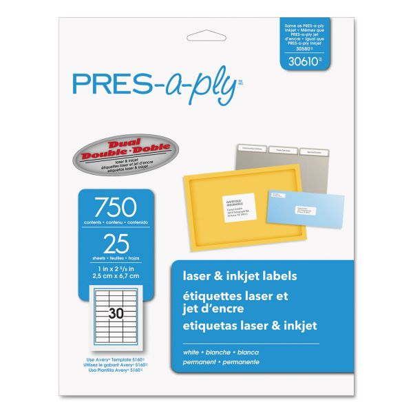PRES-a-ply Laser Address Labels, 1 x 2 5/8, White, 750/Pack