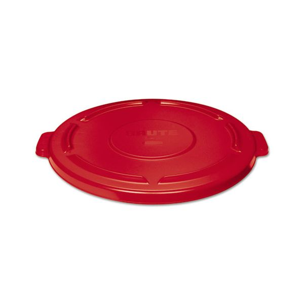 Rubbermaid Commercial Vented Round Brute Lid, 24 1/2 x 1 1/2, Red