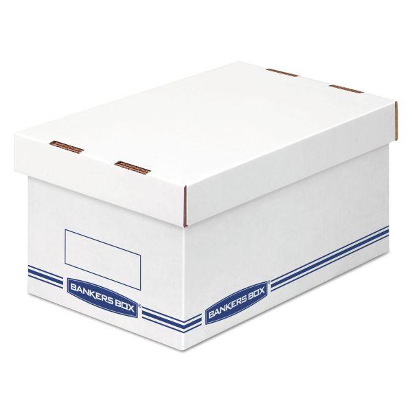 Bankers Box Organizer Storage Boxes, Medium, White/Blue, 12/Carton
