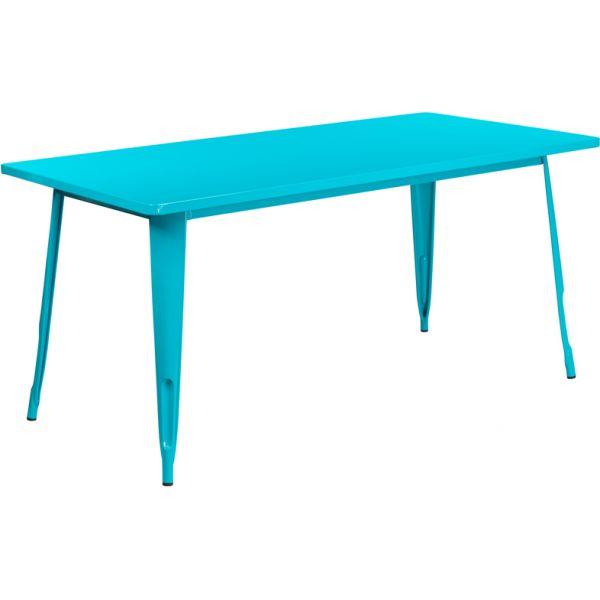 Flash Furniture 31.5'' x 63'' Rectangular Crystal Teal-Blue Metal Indoor-Outdoor Table
